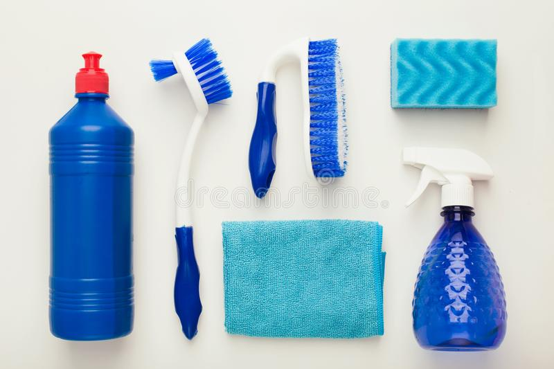Cleaning supplies and products for home tidying up royalty free stock image