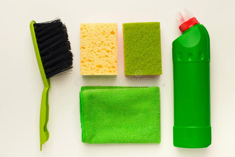Cleaning supplies and products for home tidying up royalty free stock images