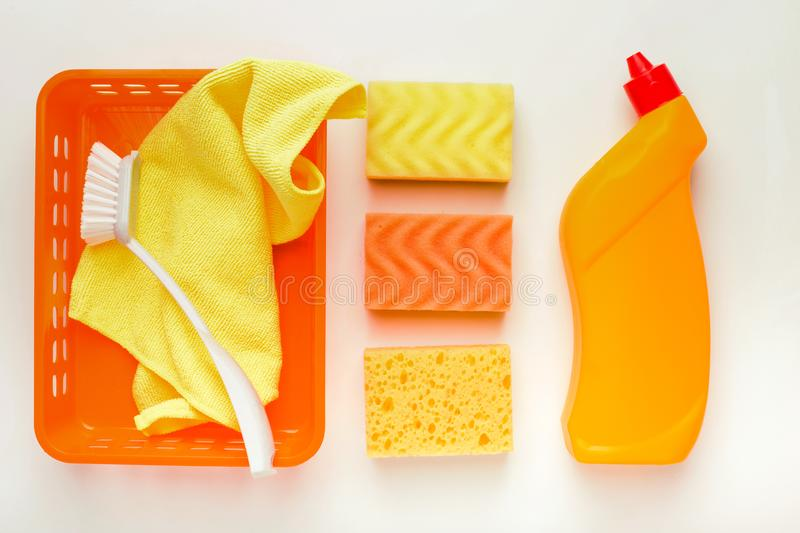 Cleaning supplies and products for home tidying up stock photo