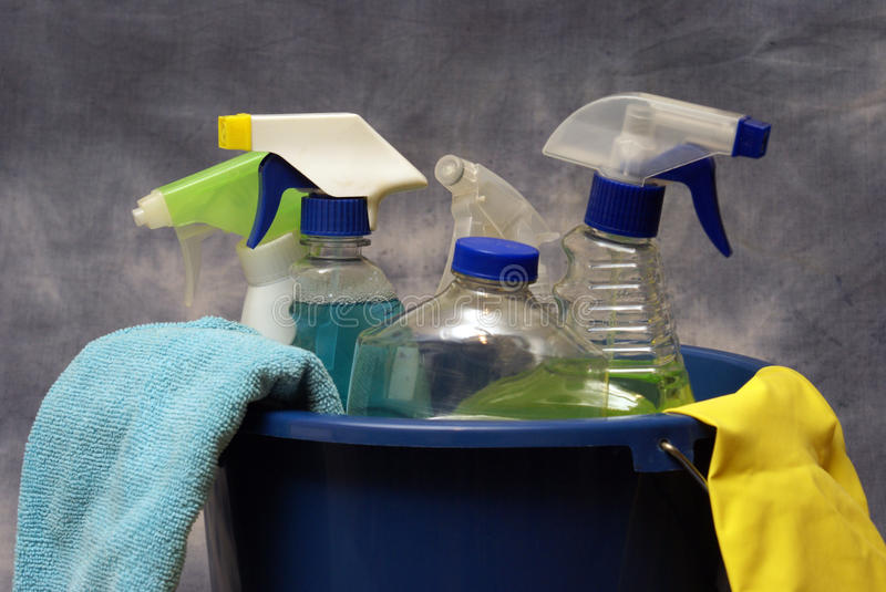 Cleaning Supplies. Ready to get the job done royalty free stock photo