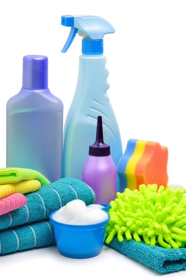 Cleaning supplies, sponge, microfibre, towels, napkins stock image