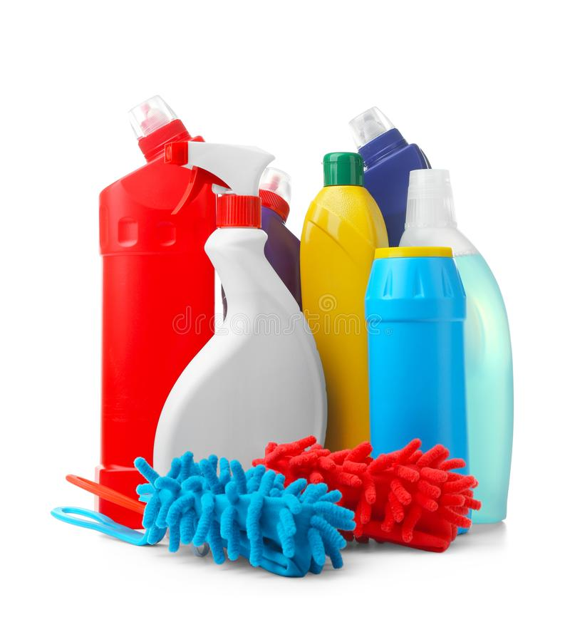 Cleaning supplies on background stock photo