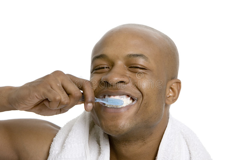 Cleaning teeth royalty free stock images