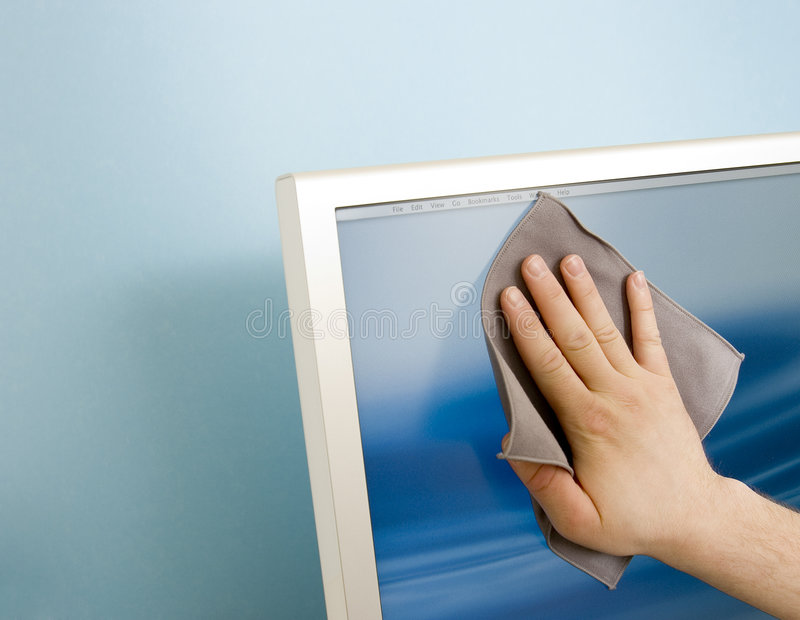 Cleaning a TFT screen royalty free stock photos