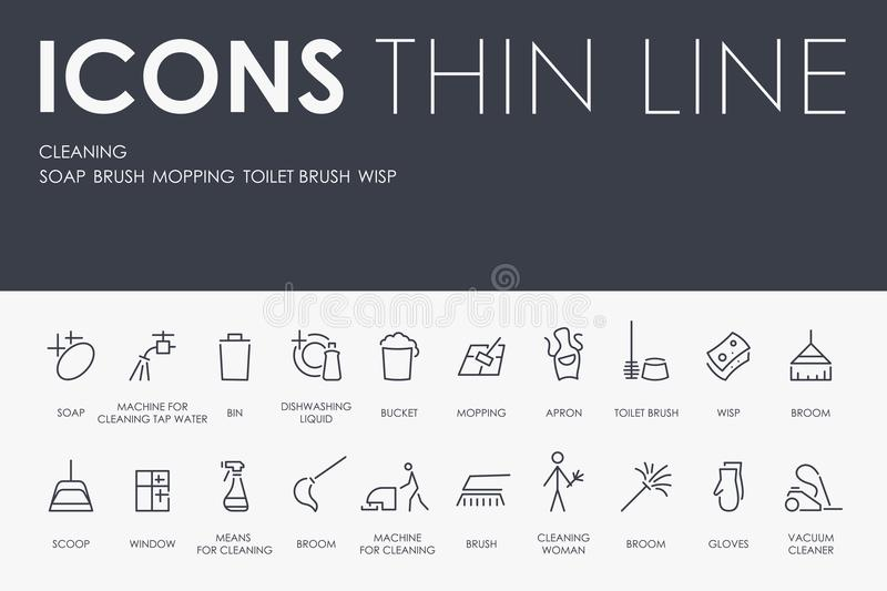 CLEANING Thin Line Icons royalty free illustration