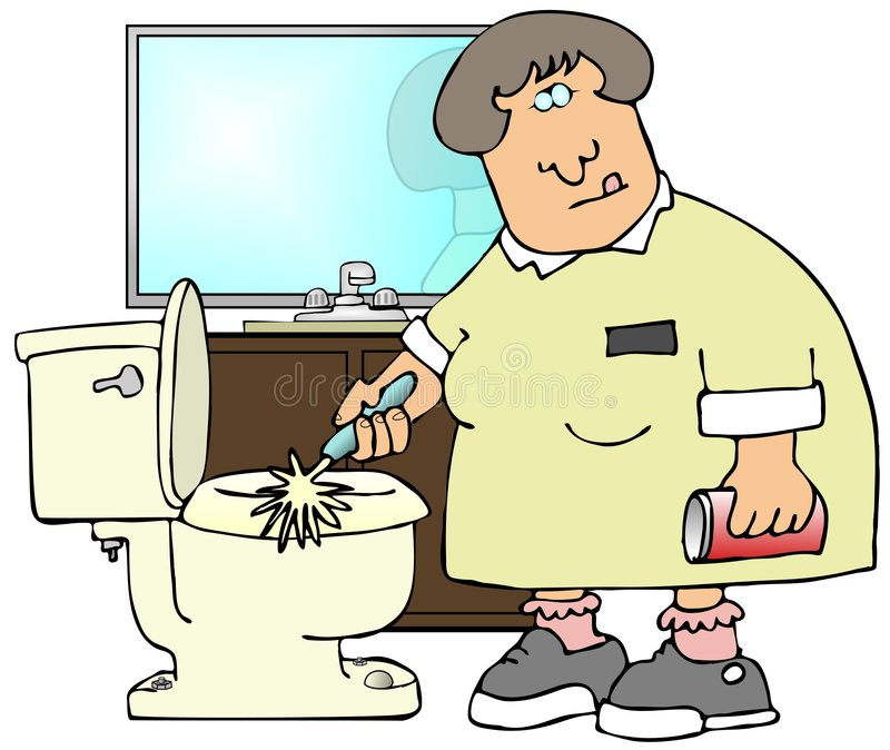 Cleaning Toilets vector illustration