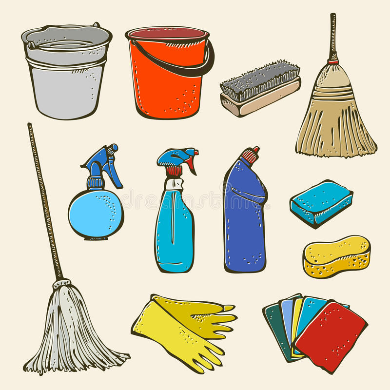 Cleaning tool set stock illustration