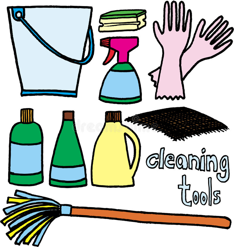 Cleaning tools. Tools for cleaning on white background. vector image vector illustration