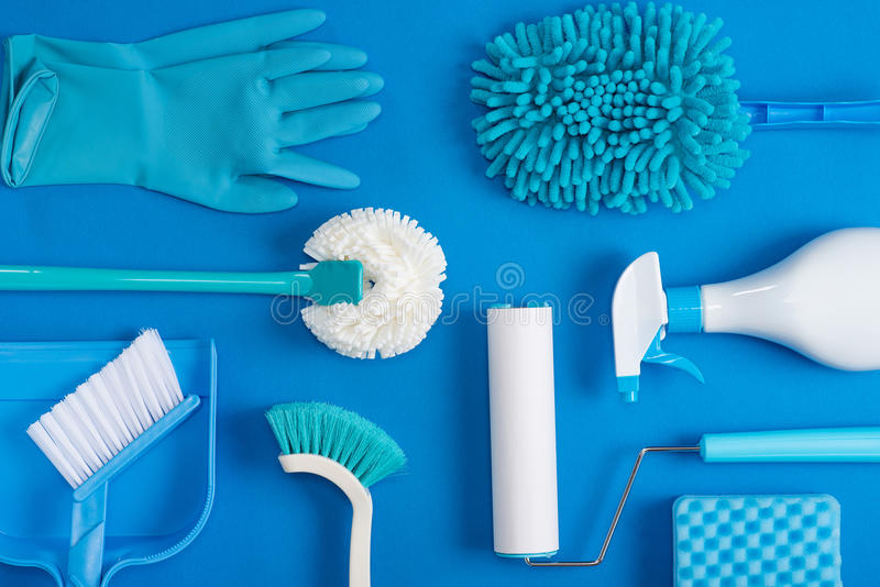 Cleaning tools background stock photos