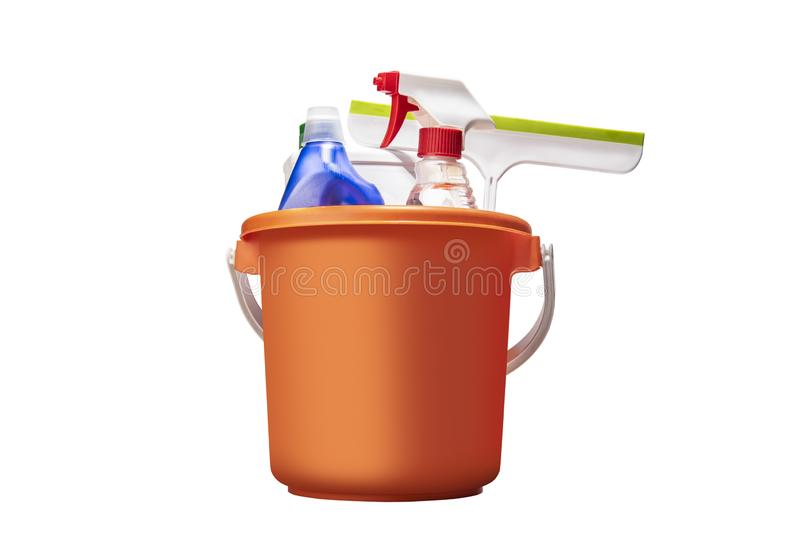 Cleaning tools in the bucket stock image