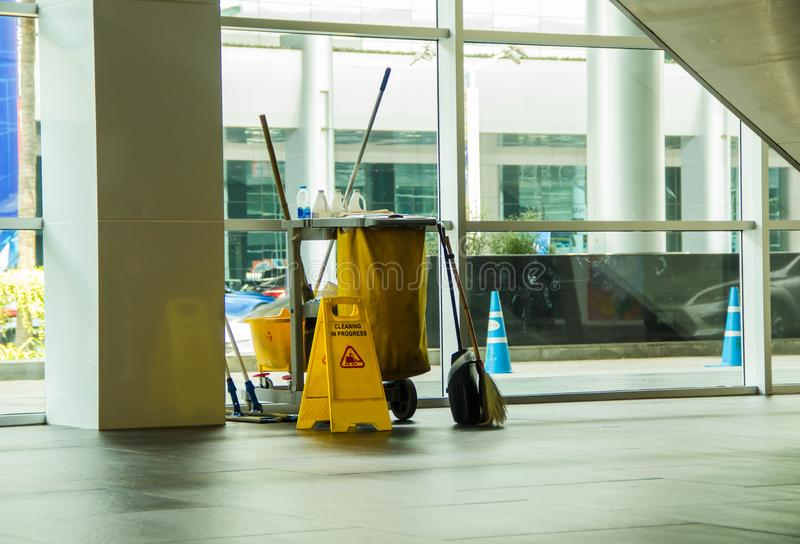 Cleaning tools cart wait for cleaning stock images