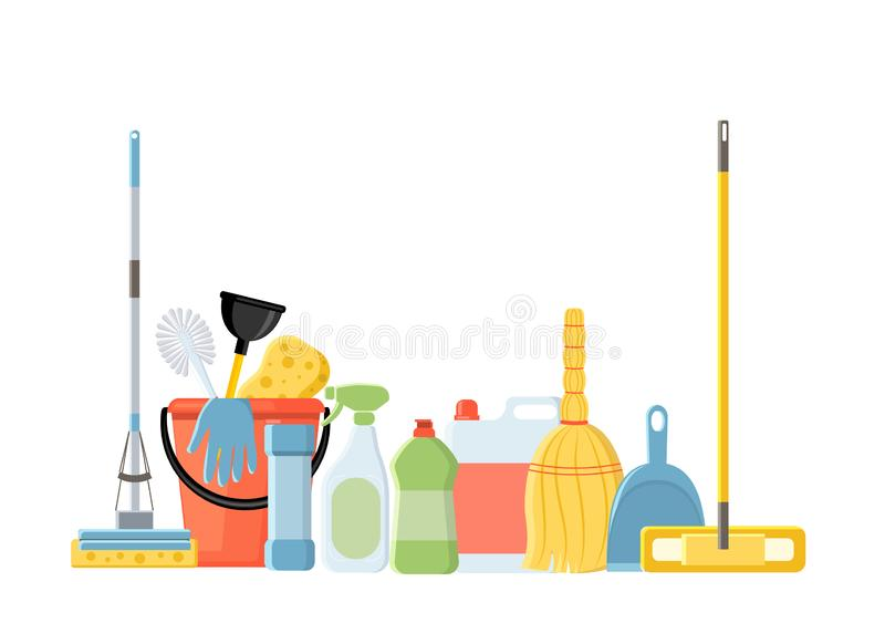 Cleaning tools in flat cartoon style vector illustration isolate. D on white background. Mop, sponge, detergent, bucket, brush vector illustration