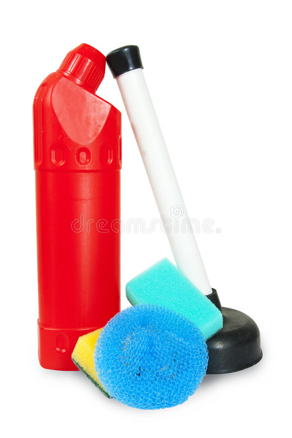 Cleaning tools isolated over white royalty free stock photo
