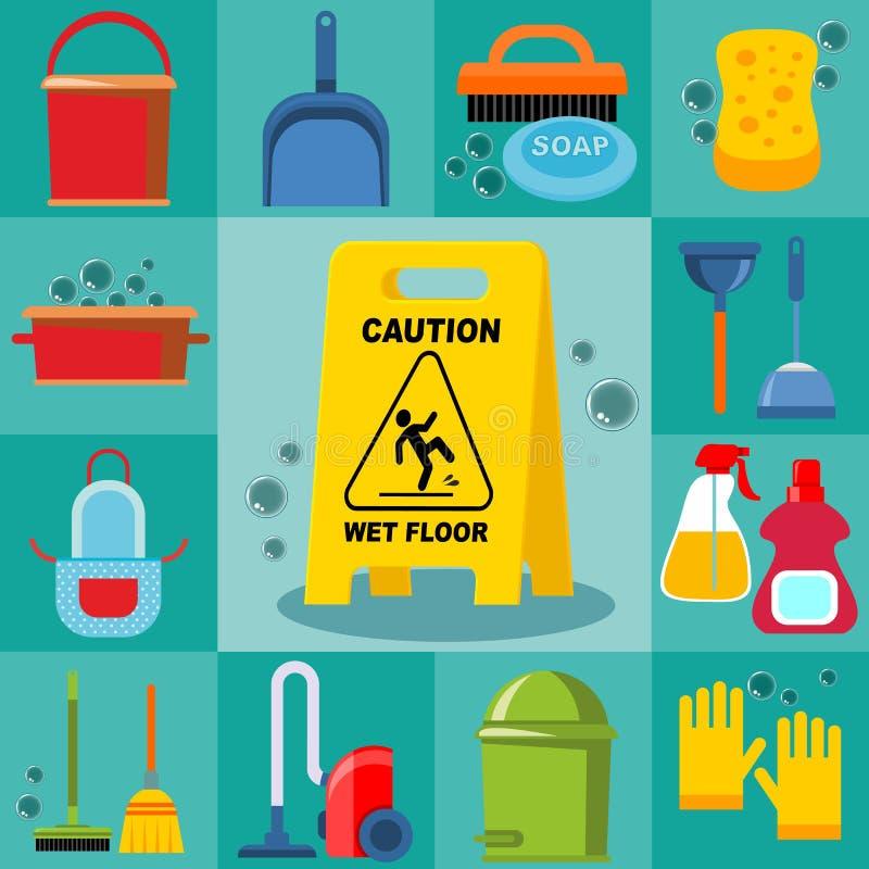 Cleaning Tools Set. With bucket brush soap sponge basin mop plunger hoover garbage gloves broom bottles scoop isolated vector illustration vector illustration