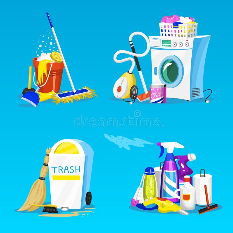 Cleaning tools. Set of House icons for poster. Washing machine, Detergents Cleanser for apartments, Water bucket for royalty free illustration