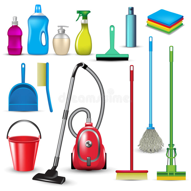 Cleaning tools stock illustration