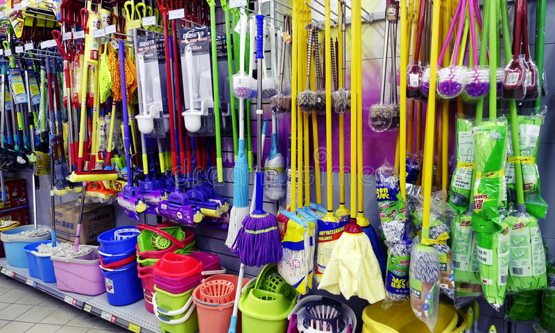 Cleaning tool in supermarket retail store shop royalty free stock image