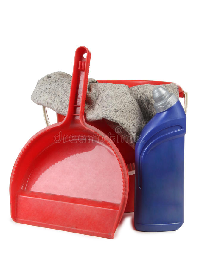 Cleaning tools on white one royalty free stock photo
