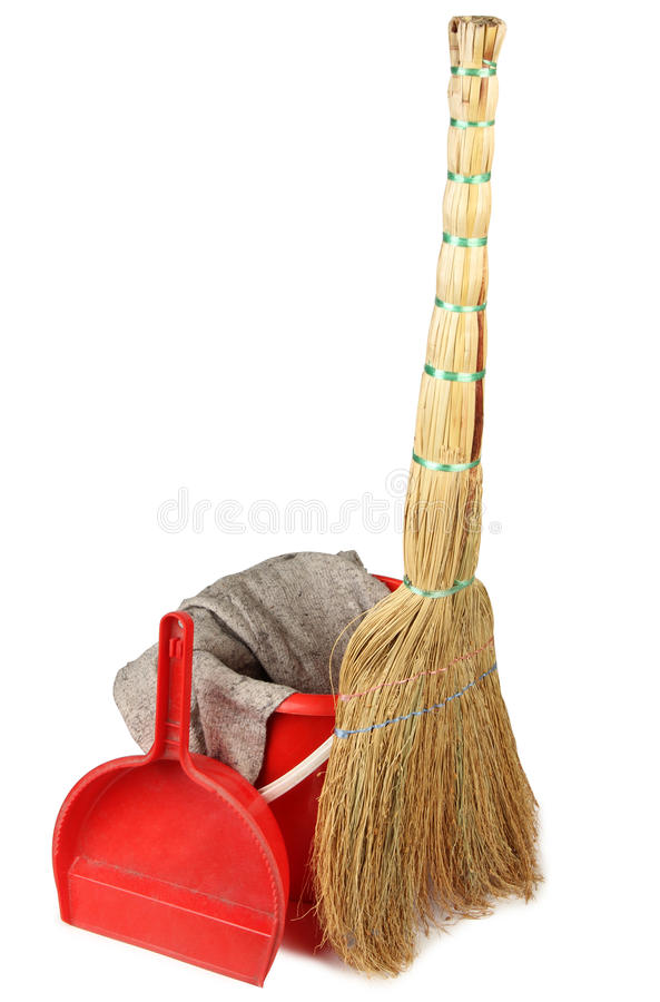 Cleaning tools on white two stock photo
