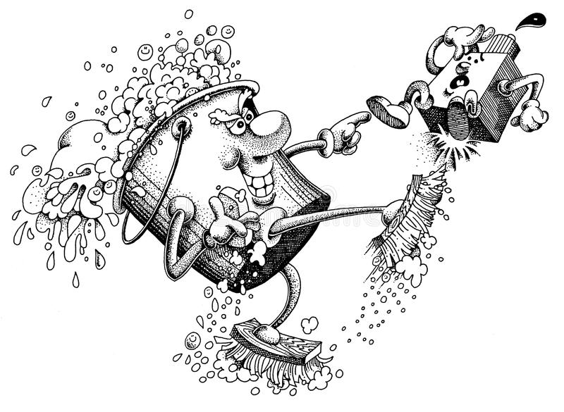 Cleaning Up. This is a hand drawn cartoon illustration of a buket of soap and water kicking out oil and grease royalty free illustration