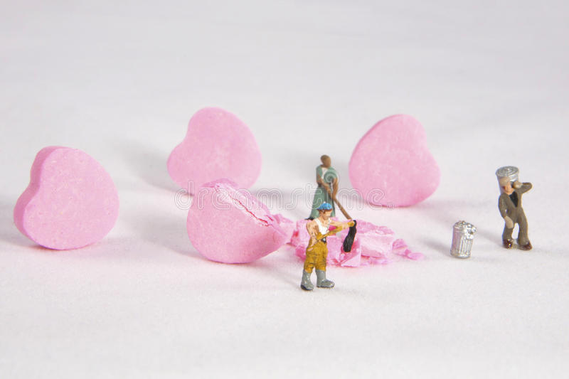 Cleaning up a Broken Heart stock photography