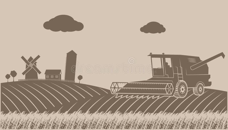 Cleaning up grain-growing rural landscape stock illustration