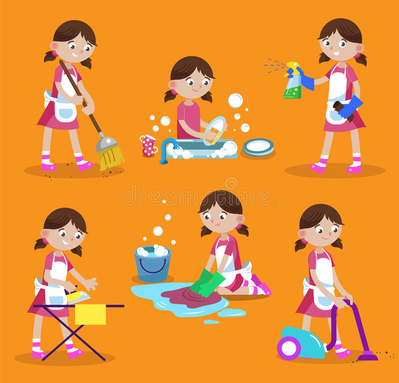 Cleaning vector illustration. House cleaning. Girl is busy at home: wash dishes, wash the floor, iron, vacuum, sweep, wash window. Funny cartoon character stock illustration