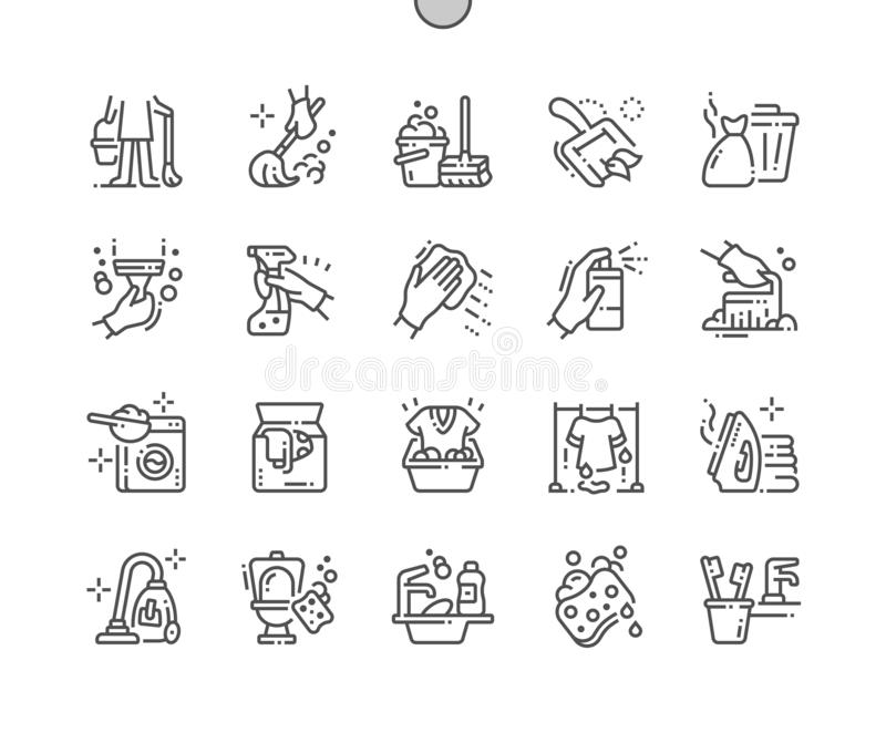 Cleaning Well-crafted Pixel Perfect Vector Thin Line Icons 30 2x Grid for Web Graphics and Apps. stock illustration