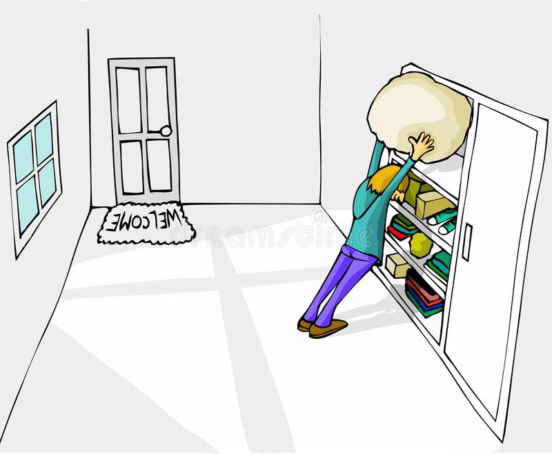 Cleaning white room. By putting coloured stuff in the wardrobe royalty free illustration