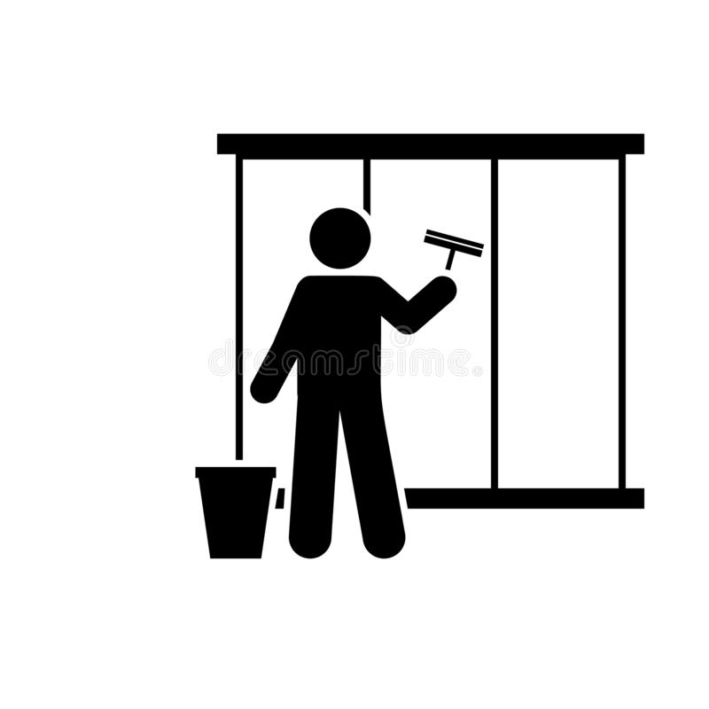 Cleaning, window, man icon. Element of workers icon. Premium quality graphic design icon. Signs and symbols collection icon for stock illustration