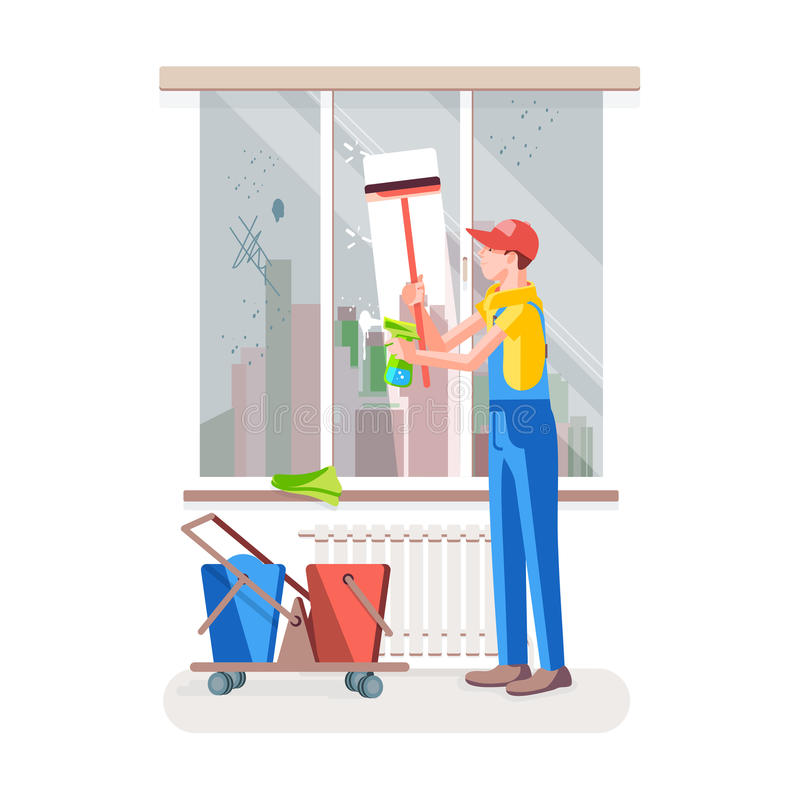 Cleaning the window stock illustration