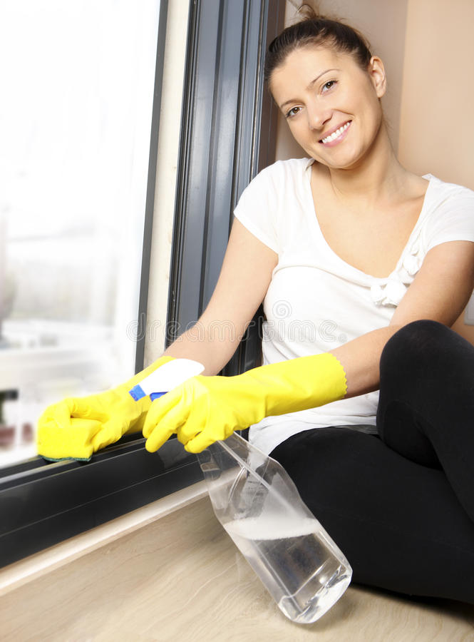 Download Cleaning windows stock photo. Image of housework, holding - 18805932