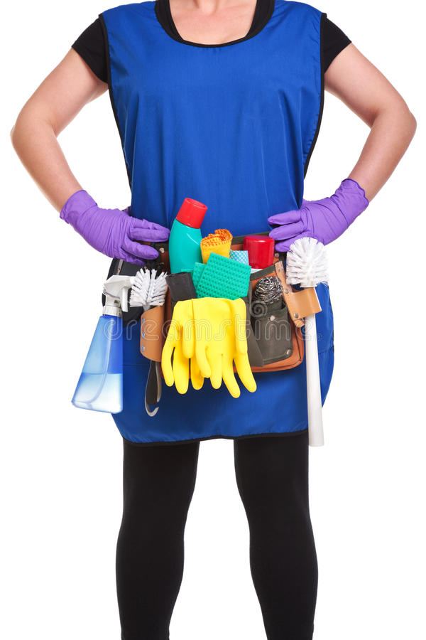 Download Cleaning woman stock image. Image of polish, apron, tabard - 18991829