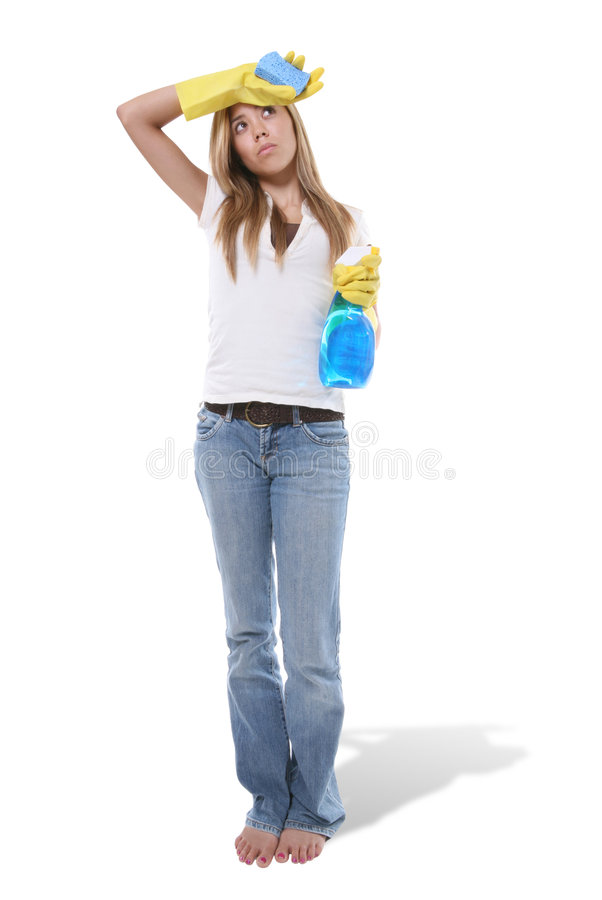 Cleaning Woman. A pretty cleaning woman that is very tired royalty free stock image