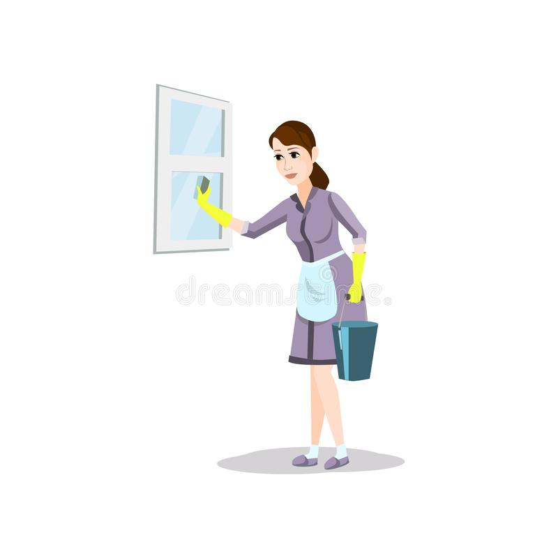 Cleaning woman with detergent bucket clean home window royalty free illustration