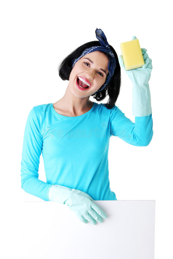 Download Cleaning Woman Showing Blank Sign Board. Stock Photo - Image: 27729532