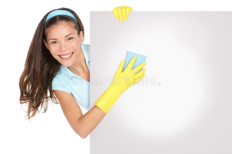 Cleaning woman sign royalty free stock photography