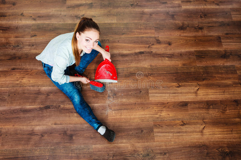 Cleaning Woman Sweeping Wooden Floor Stock Photo Image Of Cleaning