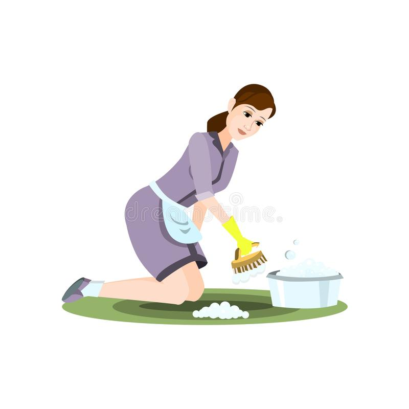 Cleaning woman take clean brush to wash carpet. Cleaning woman take clean brush to wash green carpet. Flat style. Vector illustration on white background stock illustration