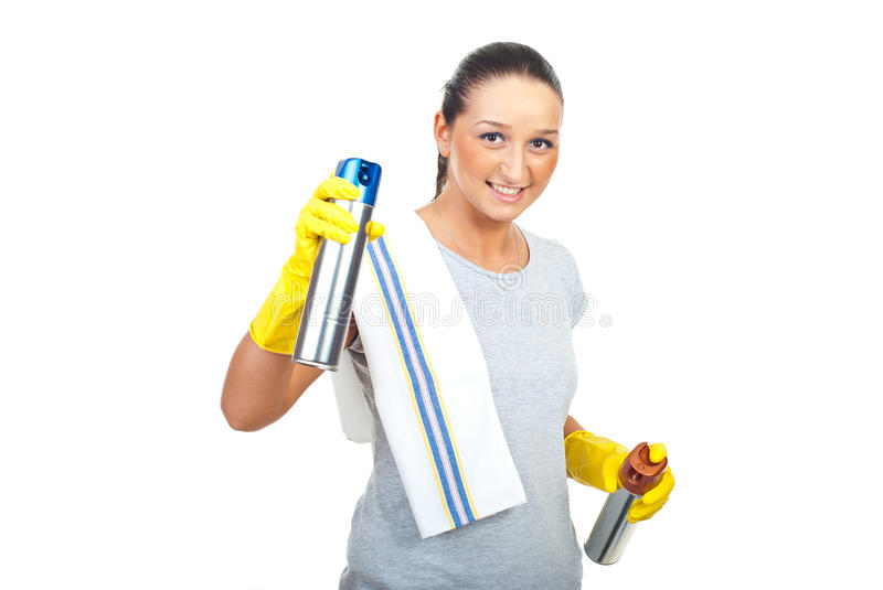Cleaning woman with two dust spray royalty free stock images