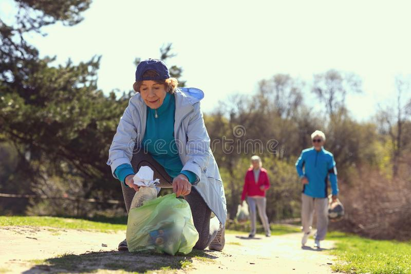 Delighted volunteers gathering litter in the woods. Cleaning the woods. Determined old women gathering litter while other volunteers helping her stock photography