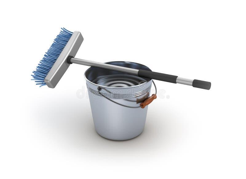 Cleaning wyposażenie. Wiadro i kwacz royalty ilustracja