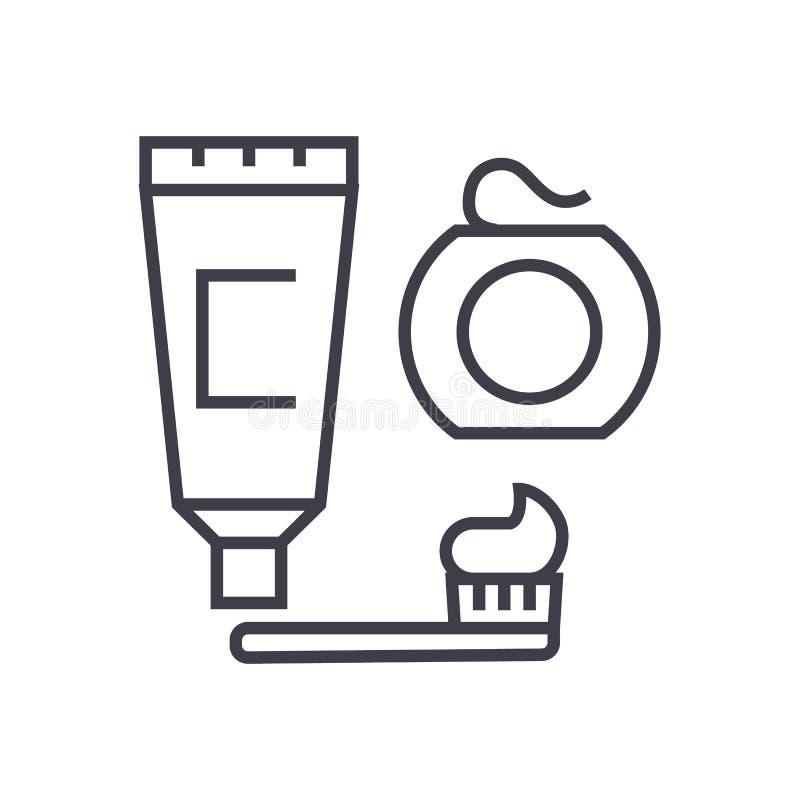 Cleaning zęby, muśnięcie, pasta do zębów, stomatologicznego floss wektoru linii ikona, znak, ilustracja na tle, editable uderzeni ilustracja wektor