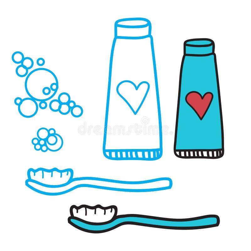 Cleaning zęby ustawiający pasta do zębów i toothbrush Pojęcie dla dziecka ` s dentystyki symboli/lów Odizolowywająca wektorowa il ilustracji