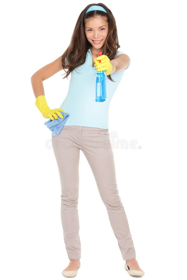 cleaning zabawy wiosna kobieta fotografia stock