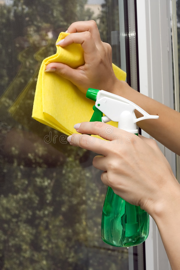 cleaningfönster royaltyfria foton