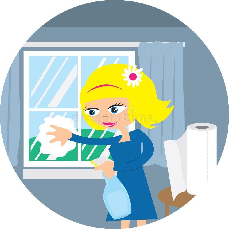 cleaningfönsterkvinna vektor illustrationer