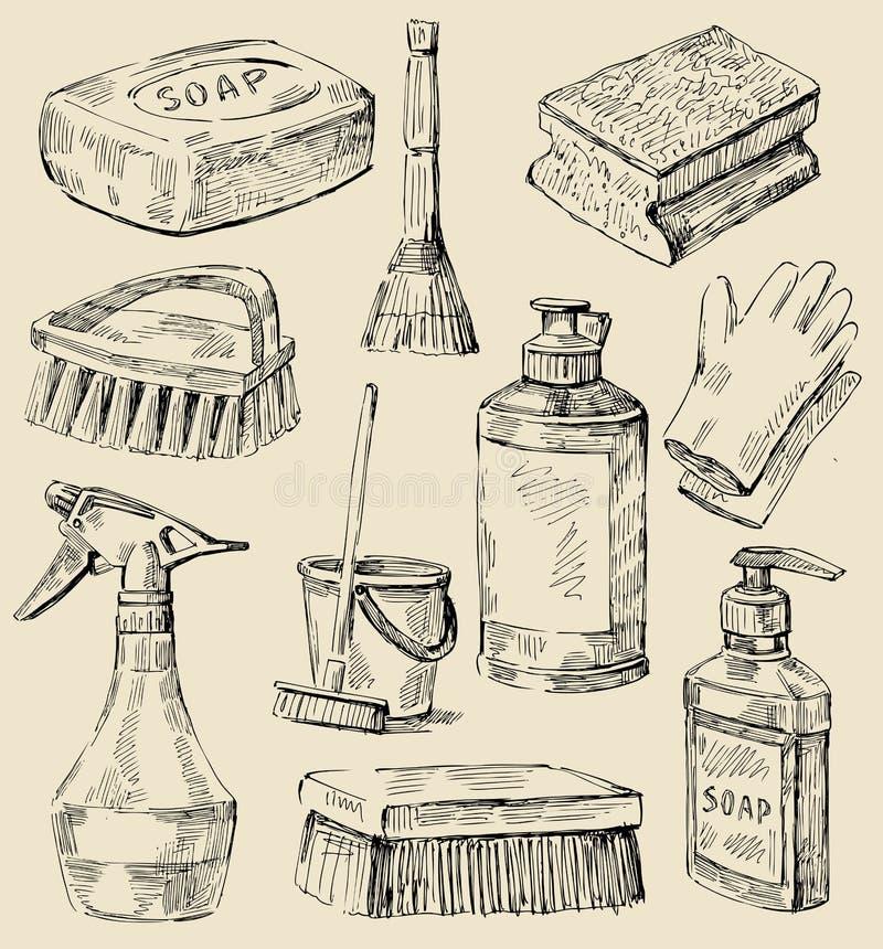 cleaningservice skissar stock illustrationer
