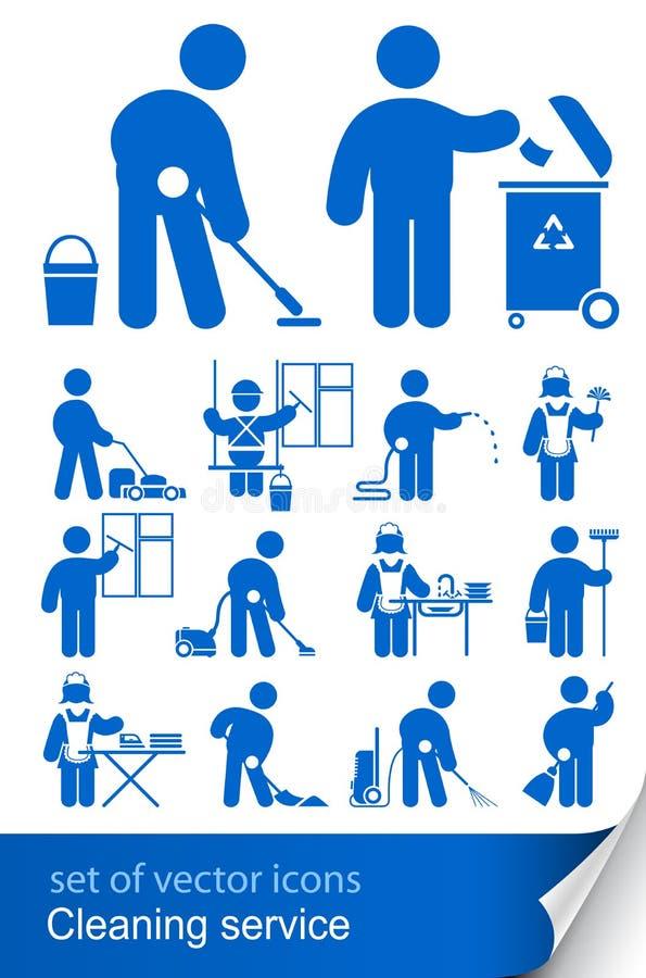 cleaningsymbolsservice royaltyfri illustrationer