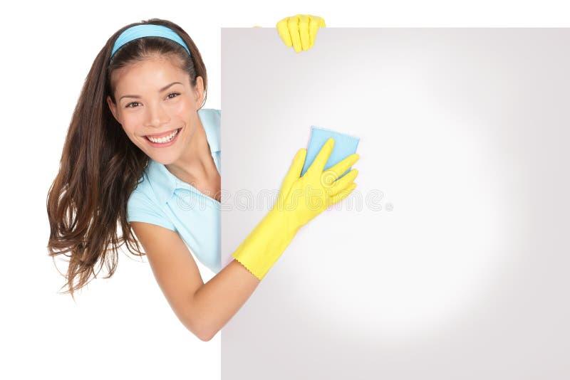 cleaningteckenkvinna royaltyfri fotografi